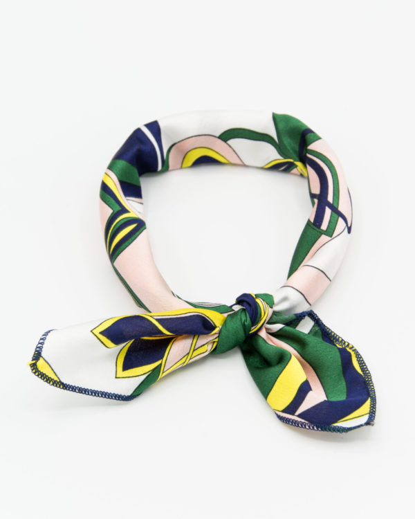 bandana femme imprimé vert et jaune
