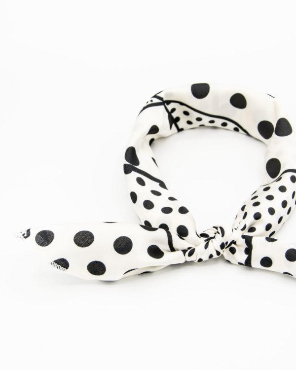 bandana géométrique blanc à pois noirs