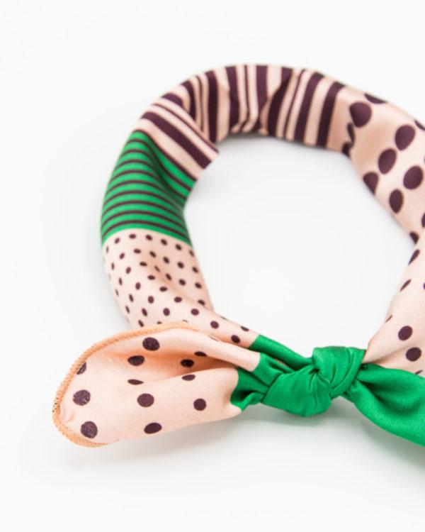 Bandana géométrique rose et vert pour femme