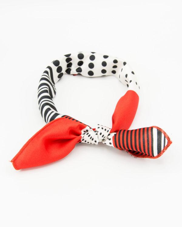 Bandana géometrique rouge et blanc