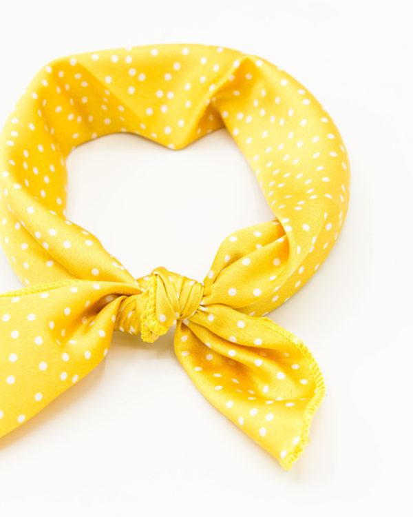 bandana jaune points blancs