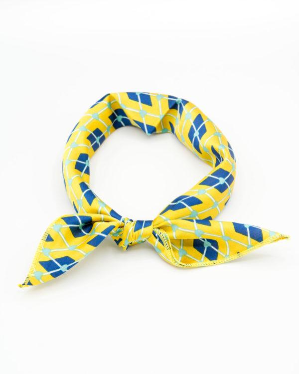 bandana femme géométrique jaune et bleu